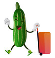 cucumber with suitcase on white background vector image vector image