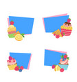 cute cartoon muffins or cupcakes stickers vector image vector image
