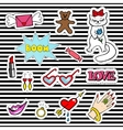 Cute fashion patch badges with lips heart cat vector image