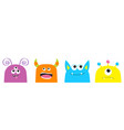 cute monster face set cartoon scary funny vector image vector image
