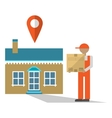 Delivery man with box vector image vector image