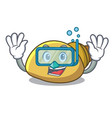 diving mollusk shell character cartoon vector image