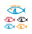 emblems of fresh fish vector image vector image