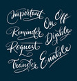 enable and disable hand written typography vector image vector image