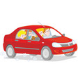 family riding by car vector image