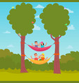 flat design characters camping hammocking on a vector image