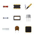 flat icon electronics set of repair cpu triode vector image vector image