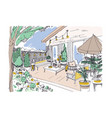 freehand drawing of backyard patio or terrace vector image