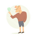funny man with a light bulb in his hands vector image