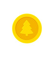 golden yellow coin with a christmas tree vector image