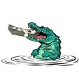 green crocodile eats money isolate on white vector image vector image