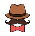 hipster hat mustache sunglasses vector image