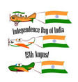 independence day of india set with three planes vector image
