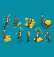 isometric businessmen joy making money vector image vector image
