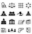 justice law legal and lawyer icon set vector image vector image