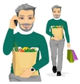 mature man carrying grocery paper bag vector image vector image