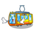 money eye miniature electric train in cartoon vector image