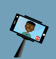 monopod selfie man self portrait tool for vector image