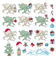 octopus gift new year color vector image