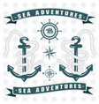 sailing themed logo with anchor vector image vector image