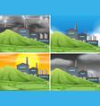 set of factory scene vector image