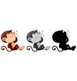 set of monkey sleeping character vector image
