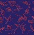 single line bird drawings seamless pattern vector image vector image
