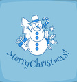 Snowman line vector image vector image