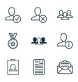 social icons set with reward open envelope vector image vector image