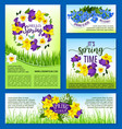 spring flowers holiday posters and banners vector image vector image