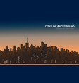 sunset city silhouette background skyline vector image