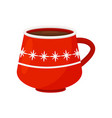 tasty hot chocolate or coffee in bright red mug vector image vector image