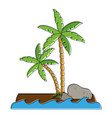 tree palms with rocks vector image vector image