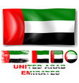 United Arab Emirates flag in different designs vector image