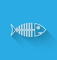 white fish skeleton line icon isolated with long vector image vector image