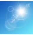 White shining sun on sky vector image vector image
