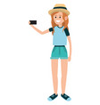 woman using smartphone for selfie vector image