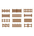 wood fence set vector image vector image