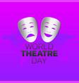 world theatre day logo icon design vector image