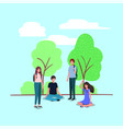 young people on the park characters vector image vector image