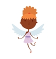 Cartoon cute cupid angel smile girl kid vector image