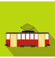 Red tram icon flat style vector image