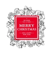 Christmas holiday frame with gift boxes and bow vector image