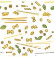 pasta and basil seamless pattern vector image