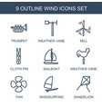 9 wind icons vector image vector image