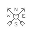 arrows and heart tattoo sketch line icon vector image vector image