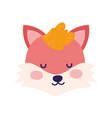 Baby shower cute fox head close eyes animal