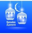 Blue flat simple Ramadan kareem vector image vector image