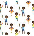 boys cartoon style seamless pattern vector image vector image