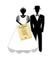 bridegroom and the bride is holding ktuba hebrew vector image vector image